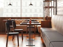 Modern zolderrestaurant het 3d teruggeven Stock Afbeelding