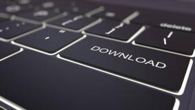 Modern zwart computertoetsenbord en lichtgevende downloadsleutel het 3d teruggeven Stock Fotografie