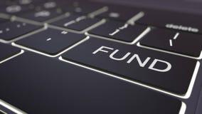 Modern zwart computertoetsenbord en lichtgevende fondsensleutel het 3d teruggeven Royalty-vrije Stock Afbeelding