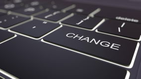 Modern zwart computertoetsenbord en lichtgevende veranderingssleutel het 3d teruggeven Royalty-vrije Stock Foto's