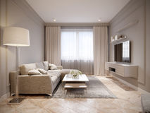 Moderna beigea Gray Living Room Interior Design Arkivfoto