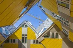 Moderna beståndsdelar för designen för byggnadsstadsarkitektur som var bekanta som kubikhus, planlade vid Piet Blom Royaltyfria Bilder