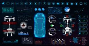 Moderna beståndsdelar för digital teknologi med abstrakt begrepp stock illustrationer