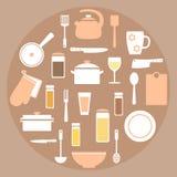 Moderna beståndsdelar för uppsättning för kökmaterial i korall-, vit- och bruntfärger Royaltyfri Foto
