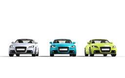 Moderna bilar - vit, blått och gräsplan Arkivbild