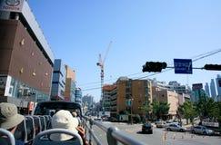Moderna byggnader av bostadsområdeBusan Sydkorea en industriell hamn Royaltyfria Bilder