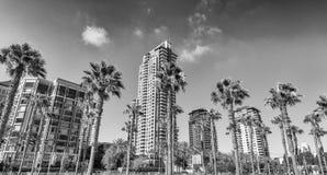 Moderna byggnader av San Diego horisont Fotografering för Bildbyråer