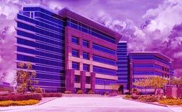 Moderna byggnader för stads- i stadens centrum horisont i en purpurfärgad ogenomskinlighet royaltyfria bilder
