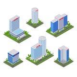 Moderna byggnader för stadshotell, isometrisk symboler för vektor 3d och designbeståndsdeluppsättning Affärsfastighetobjekt royaltyfri illustrationer