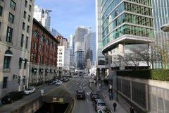 Moderna byggnader Februari 2017 Vancouver Kanada för i stadens centrum väg Arkivbild