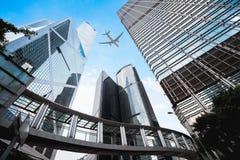 Moderna byggnader i centrala Hong Kong Royaltyfria Bilder