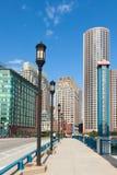 Moderna byggnader i det finansiella området i Boston - USA Fotografering för Bildbyråer