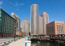 Moderna byggnader i det finansiella området i Boston - USA Arkivfoton