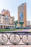 Moderna byggnader i det Obolon området av Kiev Arkivbild