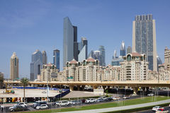 Moderna byggnader i Dubai UAE Arkivbilder