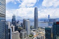 Moderna byggnader i Hong Kong finansområde Royaltyfria Foton