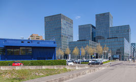 Moderna byggnader i Zurich Oerlikon Fotografering för Bildbyråer
