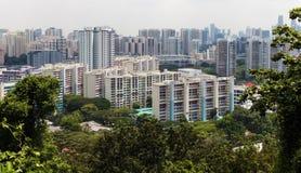 Moderna byggnader som omges av djungeln Arkivfoton