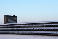 Moderna byggnader under snön, gryning Arkivbild