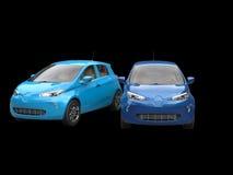 Moderna elektriska ecobilar - signal för blått två royaltyfria bilder