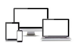 Moderna elektroniska apparater på vit bakgrund Royaltyfria Foton