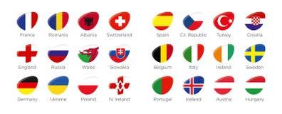 Moderna ellipssymbolssymboler av deltagandeländerna till den sista fotbollturneringen av euroet 2016 i Frankrike Royaltyfria Foton
