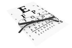Moderna exponeringsglas med eyechart royaltyfri illustrationer