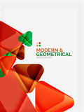 Moderna färgrika geometriska trianglar med skinande glansig effekt med prövkopian smsar vektor illustrationer