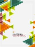 Moderna färgrika geometriska trianglar med skinande glansig effekt med prövkopian smsar stock illustrationer