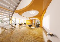 moderna för design för lägenhet 3d framför inre Arkivfoto