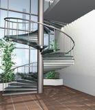 moderna för hus för byggnad 3d framför inre royaltyfri illustrationer