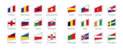Moderna flaggor - forma symboler av deltagandeländerna till fotbollturneringen 2016 i Frankrike Arkivfoto