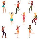 Moderna flickor och grabbar dansar och har gyckel på ett parti royaltyfri illustrationer