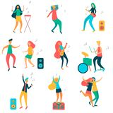 Moderna flickor och grabbar dansar och har gyckel på ett parti vektor illustrationer