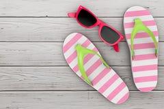 Moderna Flip Flops Sandals med rosa solglasögon framförande 3d royaltyfri illustrationer