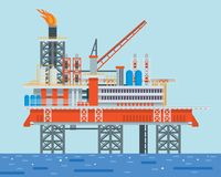Moderna frånlands- olje- Rig Drilling Facility Illustration royaltyfri illustrationer
