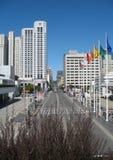 Moderna gator av i stadens centrum San Francisco Kalifornien enig stat av Amerika royaltyfri fotografi