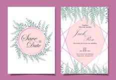Moderna gifta sig olika kort f?r inbjudankortmall 2 Vattenf?rgen l?mnar med guld- geometriska Shape Spara datumet och vektor illustrationer