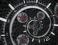 Moderna händer för klockan för klockan för klockan för silversvartmode som röda vrids till overklig tid, röra sig i spiral Abstra Arkivfoton
