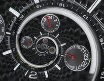 Moderna händer för klockan för klockan för klockan för silversvartmode som röda vrids till overklig tid, röra sig i spiral Abstra Arkivfoto