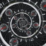 Moderna händer för klockan för klockan för klockan för silversvartmode som röda vrids till overklig tid, röra sig i spiral Abstra Fotografering för Bildbyråer