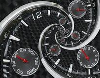 Moderna händer för klockan för klockan för klockan för silversvartmode som röda vrids till overklig tid, röra sig i spiral Abstra Royaltyfria Bilder