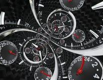Moderna händer för klockan för klockan för klockan för silversvartmode som röda vrids till overklig tid, röra sig i spiral Abstra Royaltyfri Bild
