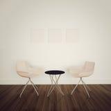 Moderna inre tabell och stolar arkivbild
