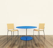 Moderna inre tabell och stolar arkivfoton