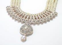 Moderna invecklade indiska smycken Diamond Necklace Arkivfoto