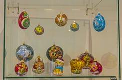 Moderna julleksaker på symbolerna av det kinesiska horoskopet Arkivbilder