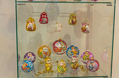 Moderna julleksaker på symbolerna av det kinesiska horoskopet Royaltyfri Foto