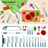 Moderna kökknivar för kött och grönsaker Arkivbilder