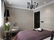 Moderna klassiska Art Deco Bedroom Interior Design vektor illustrationer